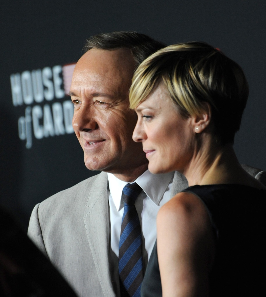 Kevin Spacey and co-star Robin Wright attend the season two premiere of House of Cards